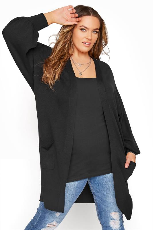 Plus Size  Black Balloon Sleeve Fine Knit Cardigan