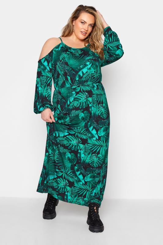 Green Tropical Print Cold Shoulder Midaxi Dress_A.jpg