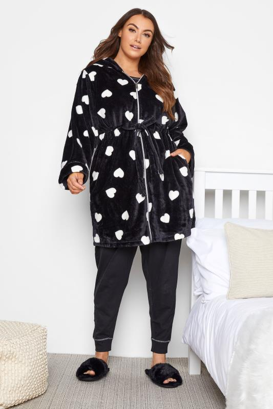 Grande Taille Black Heart Print Zip Dressing Gown