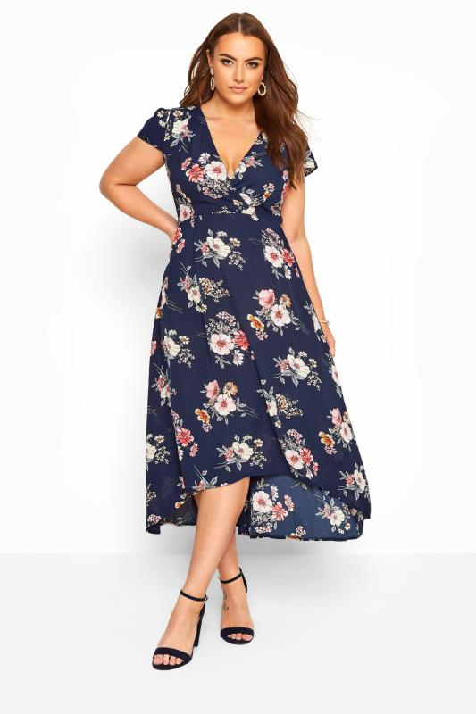 Plus-Größen Evening Dresses YOURS LONDON Navy & Pink Floral Wrap Dress