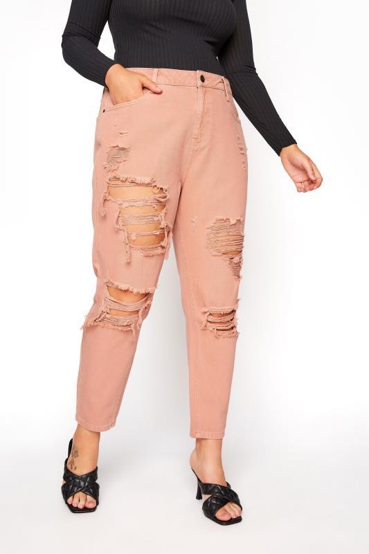 Blush Pink Extreme Distressed MOM Jeans_E.jpg