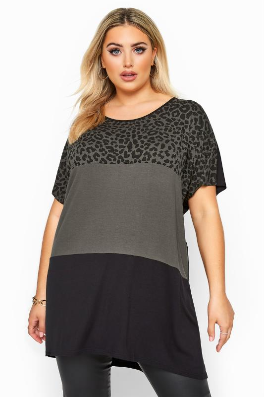 Plus Size Jersey Tops Charcoal Grey Animal Print Colour Block Top