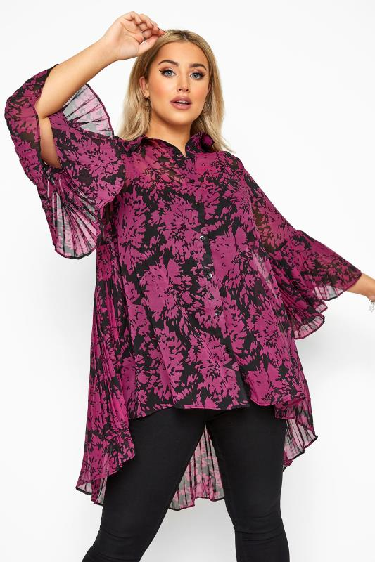 Plus Size Shirts YOURS LONDON Pink Floral Pleat Back Shirt