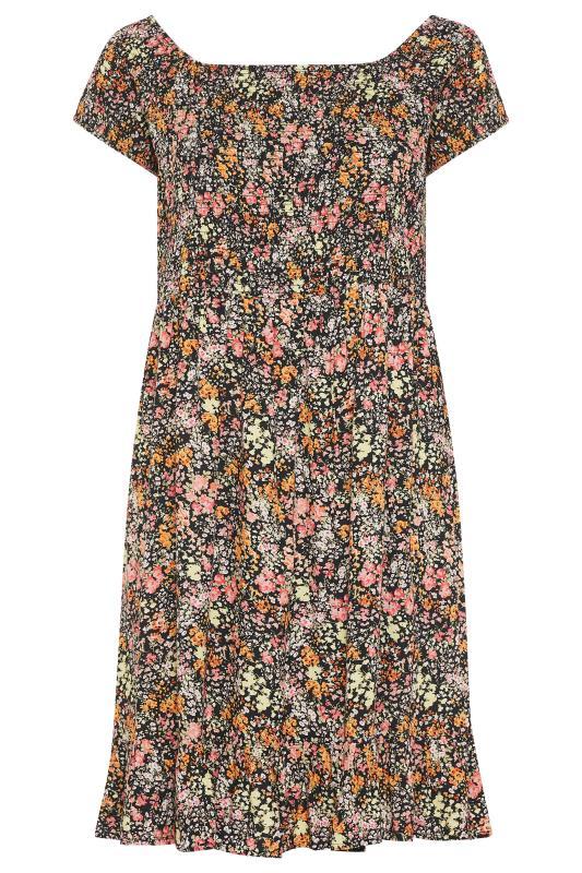 Black Ditsy Floral Shirred Bardot Dress_BK.jpg