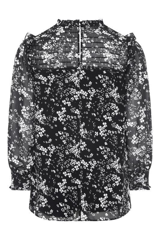 YOURS LONDON Black Floral Ruffle Blouse_BK.jpg