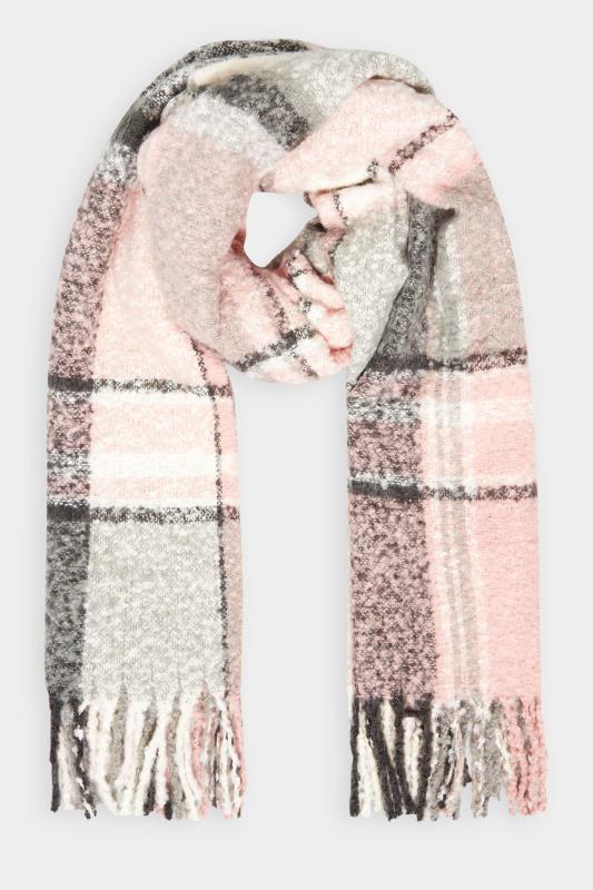 Pink & Grey Soft Boucle Check Scarf_F.jpg