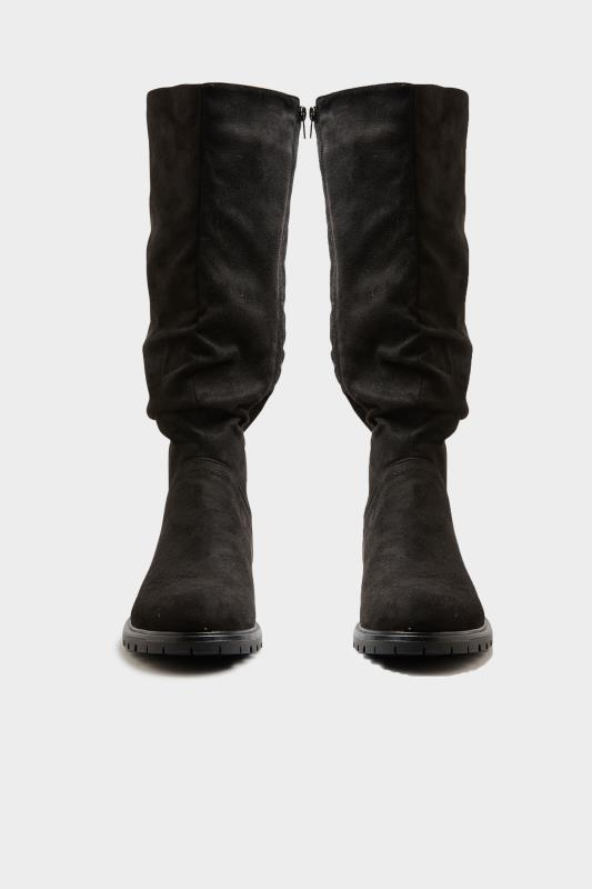 Black Ruched Cleated Boots In Regular Fit_A.jpg