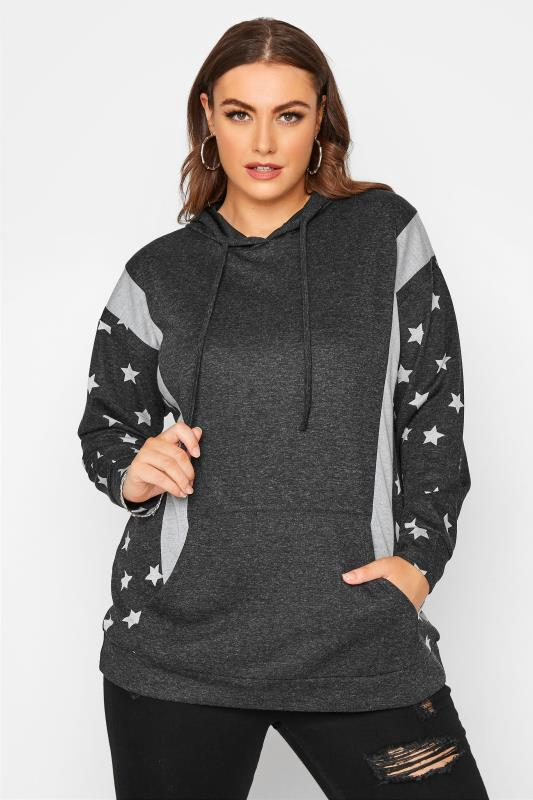 Plus Size  Grey Colour Block Star Print Hoodie