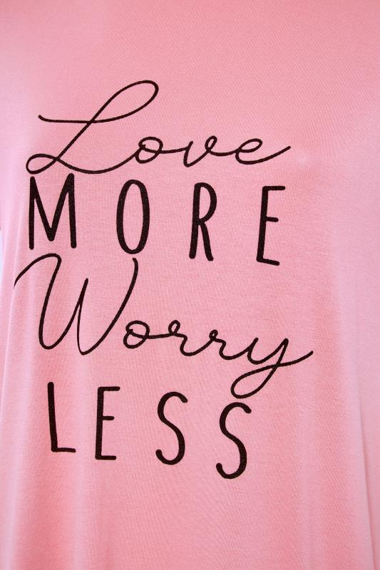 LIMITED COLLECTION Pink 'Love More Worry Less' Slogan Top_S.jpg