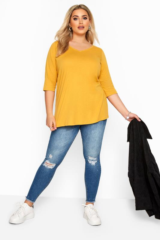 Mustard Yellow V-Neck Cotton Top