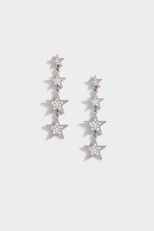 Gunmetal Star Drop Earrings