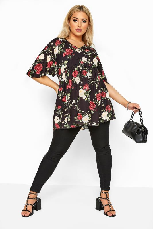 LIMITED COLLECTION Black Floral Kimono Sleeve Top