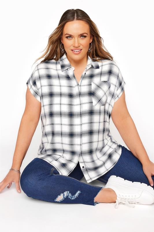 Plus Size  YOURS LONDON White Check Shirt