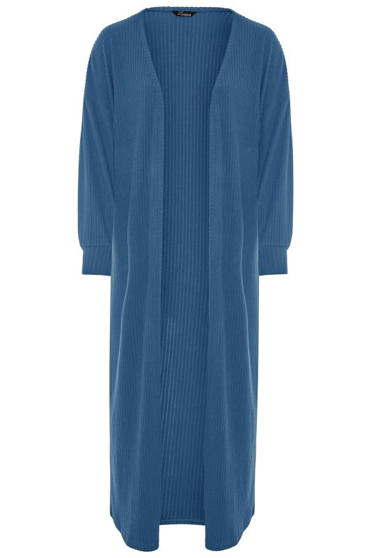 LIMITED COLLECTION Dark Denim Blue Ribbed Long Cardigan_F.jpg