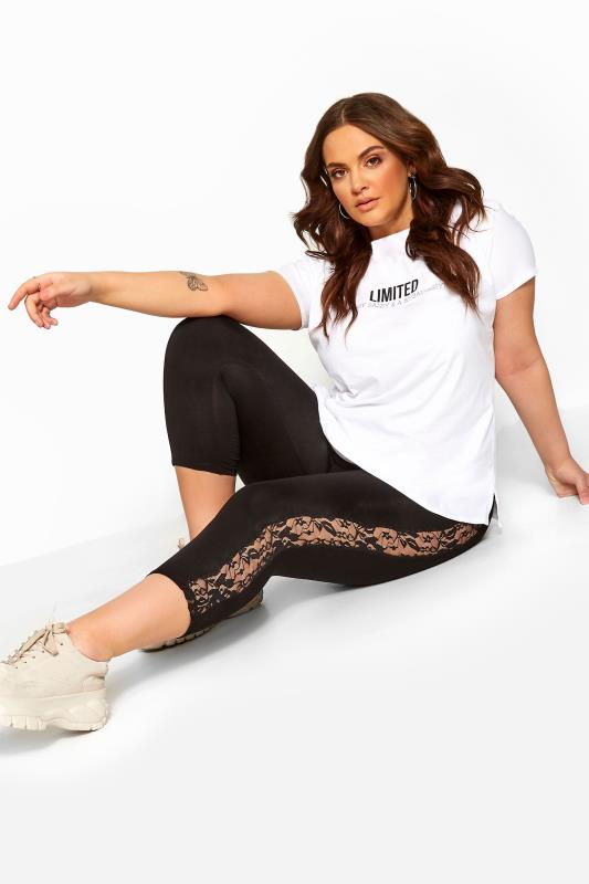 Plus Size Cropped & Short Leggings Black Lace Insert Cropped Leggings