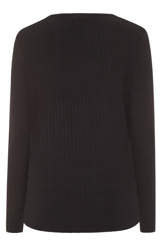 Black Ribbed Wrap Front Sweater