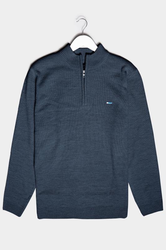 Men's  BadRhino Navy Essential Quarter Zip Knitted Jumper