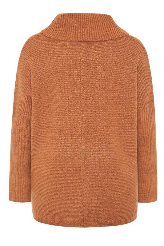 Rust Orange Chevron Oversized Roll Neck Knitted Jumper