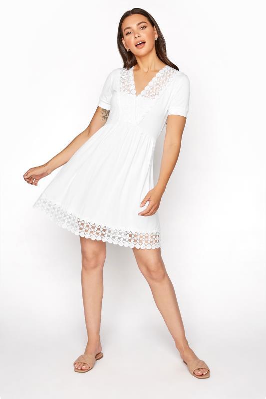 LTS White Crochet Trim Tunic