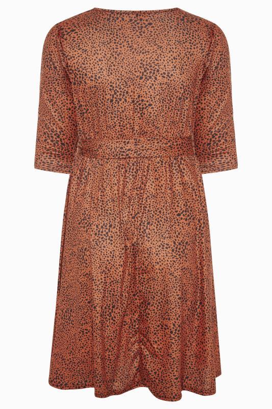 YOURS LONDON Brown Dalmatian Print Wrap Midi Dress_BK.jpg