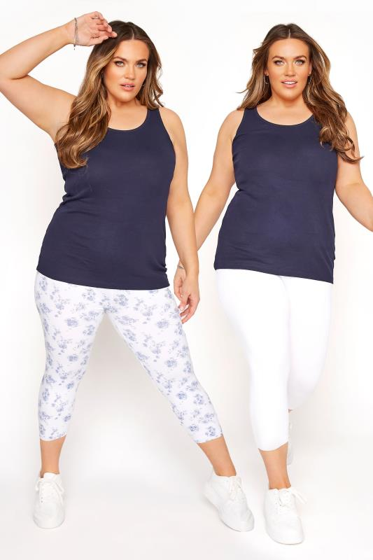 Plus Size Cropped & Short Leggings 2 PACK White & Blue Cropped Floral Leggings