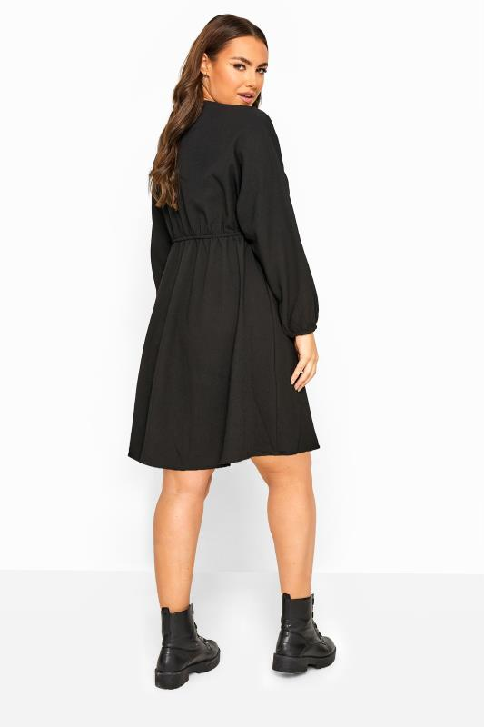 LIMITED COLLECTION Black Ruched Balloon Sleeve Dress