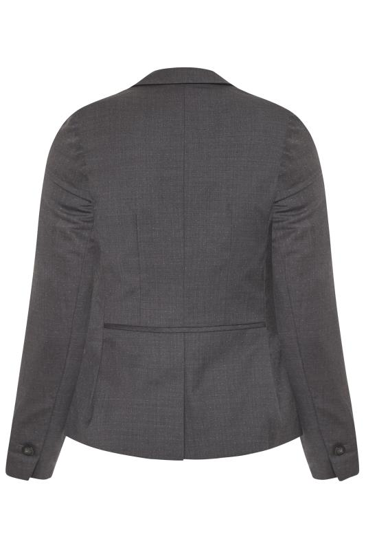 Grey Wool Mix Spot Suit Jacket