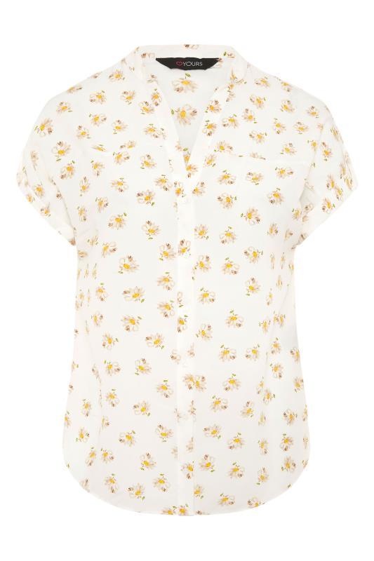 White Daisy Print Short Sleeve Dipped Hem Blouse_F.jpg