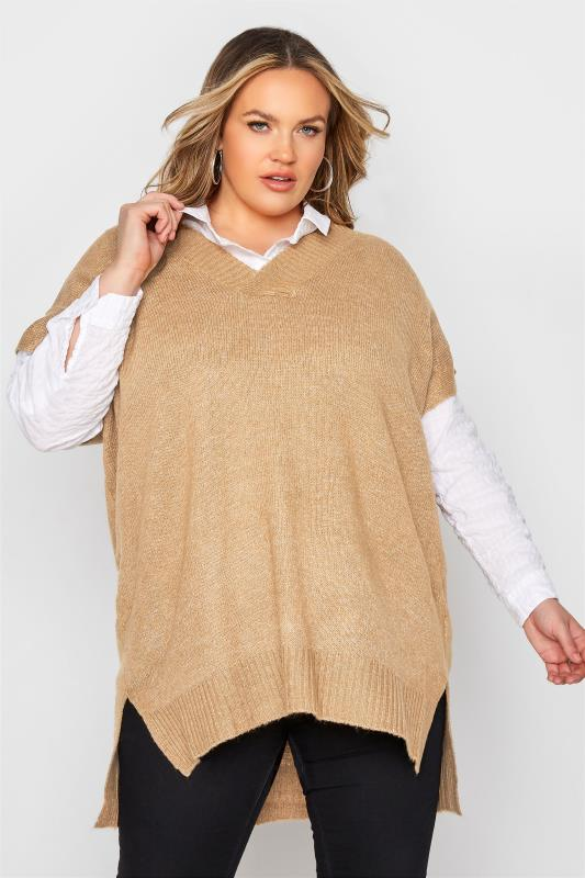 Plus Size  Natural Longline Knitted Vest