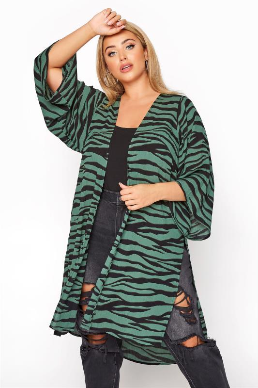 Großen Größen  LIMITED COLLECTION Green Zebra Print Kimono