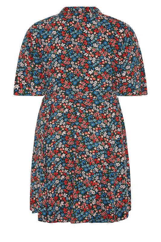 THE LIMITED EDIT Black Floral Print Shirt Mini Dress_BK.jpg