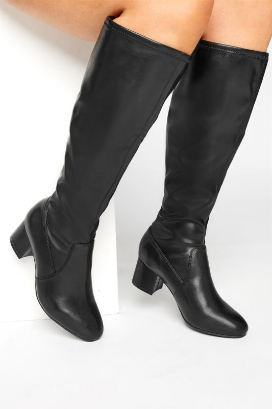 Grande Taille Black Faux Leather Stretch Knee Boots In Extra Wide Fit