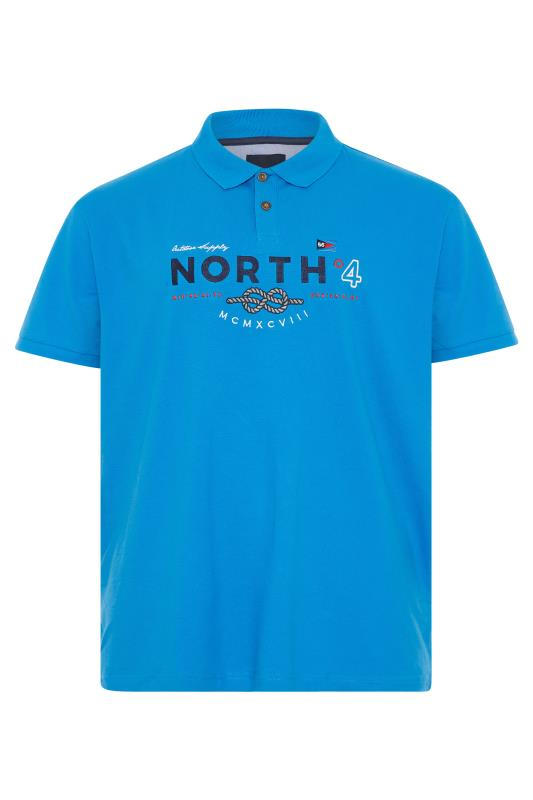 Men's  NORTH 56°4 Blue Embroidered Logo Polo Shirt