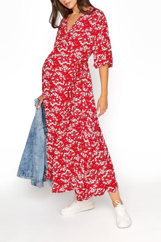 LTS Maternity Red & Pink Floral Wrap Dress_B.jpg