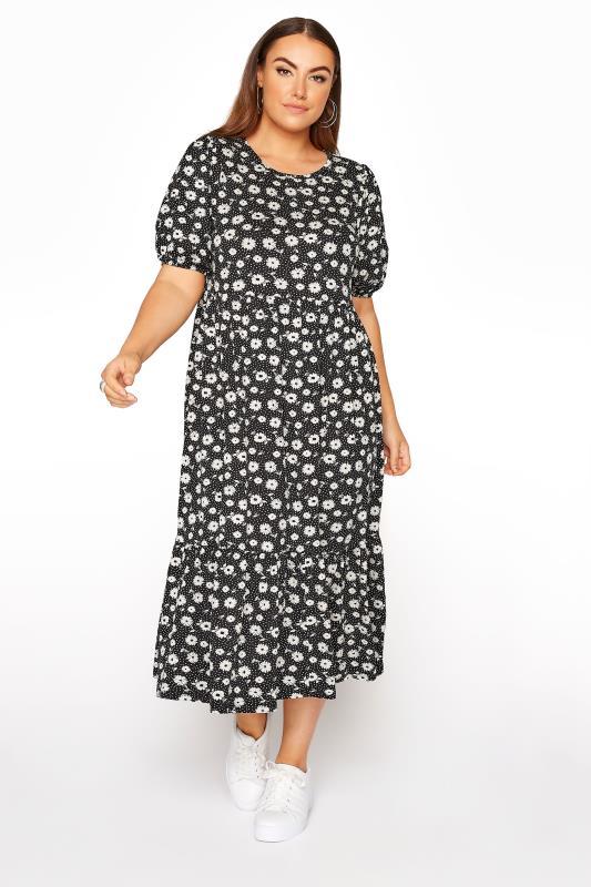 Plus Size  Black Ditsy Puff Sleeve Smock Midaxi Dress