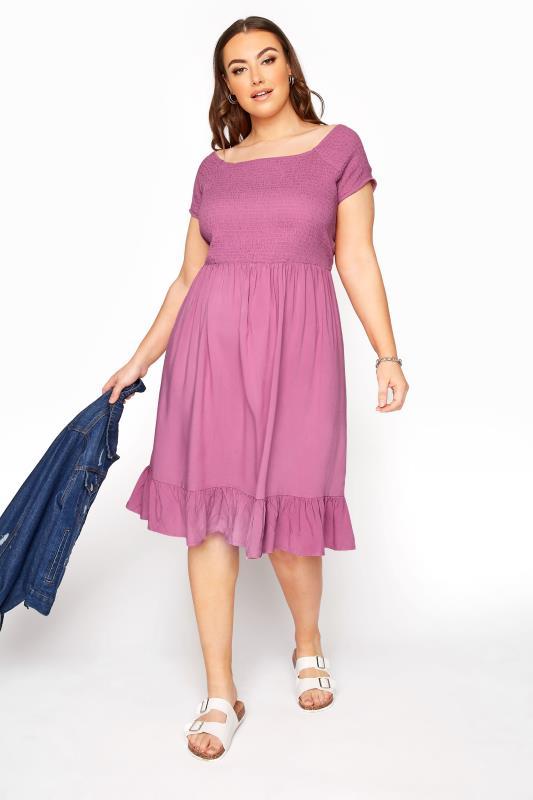 Großen Größen  Pink Acid Wash Shirred Bardot Dress