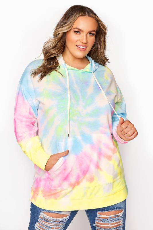 Plus Size  Multi Tie Dye Hoodie