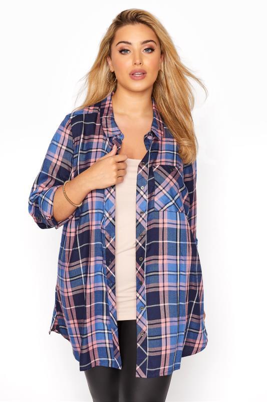 Plus Size  Blue Check Boyfriend Shirt