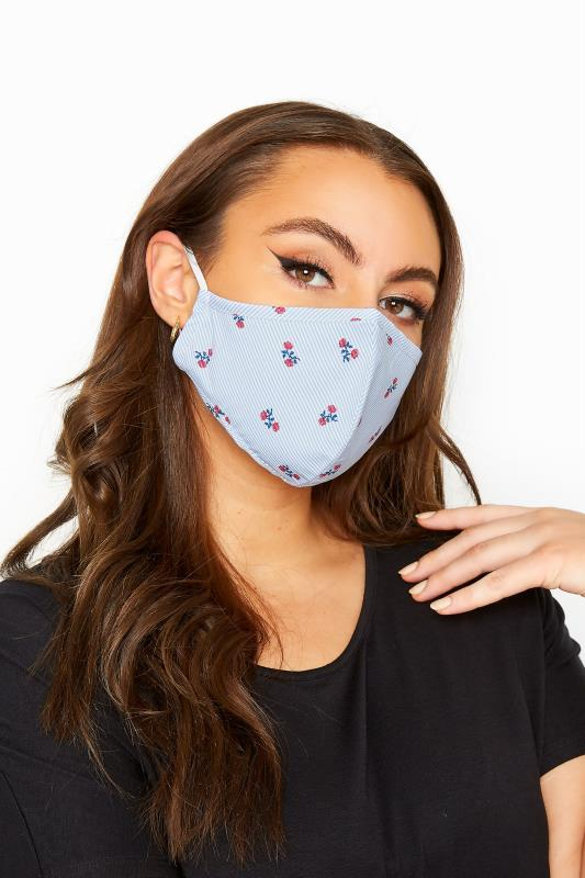 Plus Size  Pale Blue Floral Stripe Antibacterial Face Mask