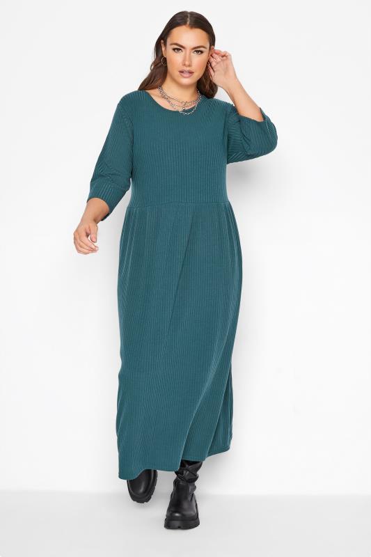 Großen Größen  LIMITED COLLECTION Teal Green Ribbed Midi Dress