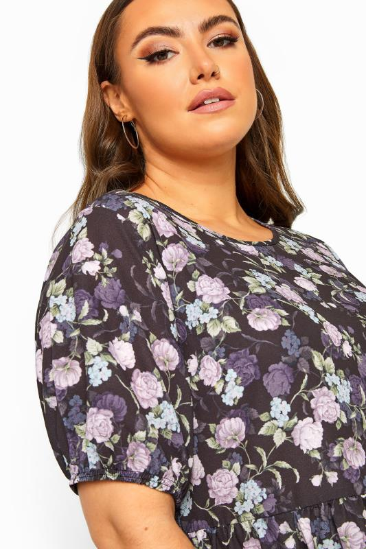 LIMITED COLLECTION Black Floral Peplum Smock Top