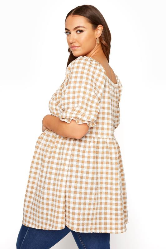 BUMP IT UP MATERNITY Ivory Gingham Square Neck Top_C.jpg