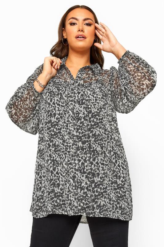 Grey Leopard Print Boyfriend Shirt