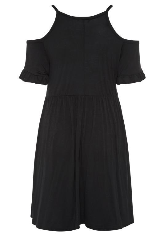 LIMITED COLLECTION Black Cold Shoulder Frill Hem Dress_BK.jpg