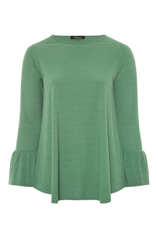 LIMITED COLLECTION Sage Green Ribbed Flare Long Sleeve Top_F.jpg