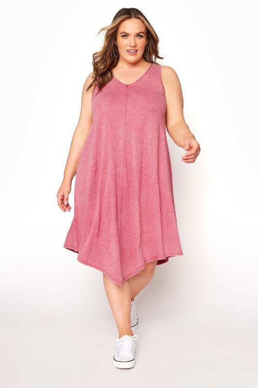 Pink Acid Wash Hanky Hem Sleeveless Dress