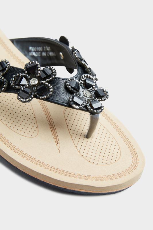 Black Flower Gem Sandals in Regular Fit_E.jpg