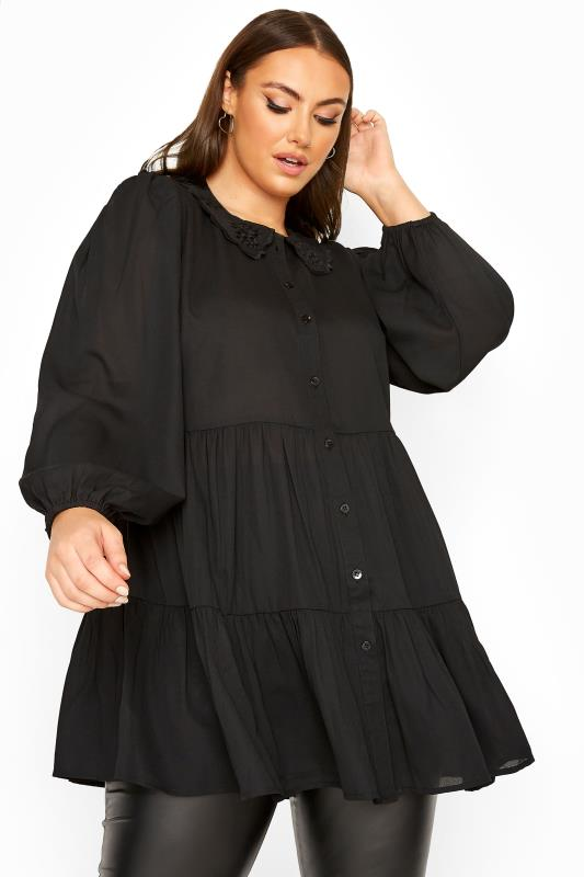 LIMITED COLLECTION Black Embroidered Collar Tiered Hem Shirt