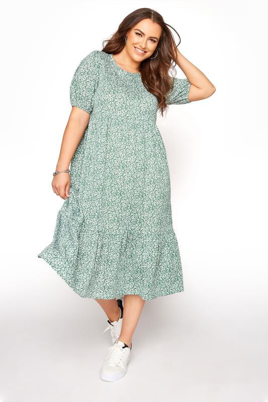 Plus Size  Sage Green Floral Frill Hem Midi Dress