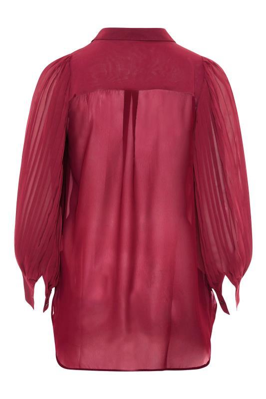 YOURS LONDON Burgundy Pleat Sleeve Shirt_BK.jpg
